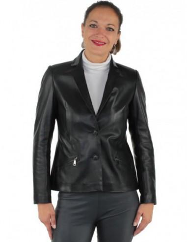 Veste Giorgio en cuir ref_gio37571-noir