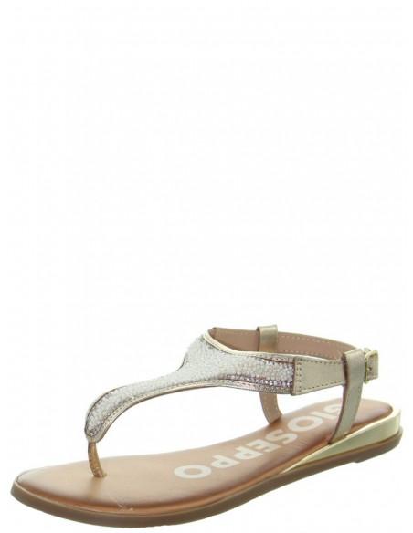 Sandales plates femme en cuir ref_48734 Doré
