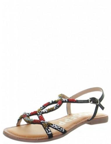Sandales plates Gioseppo en cuir ref_48735 Noir