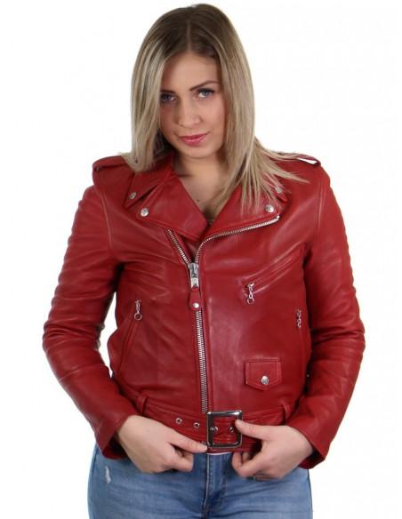 Blouson perfecto Schott en cuir ref_31135 Rouge