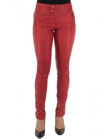 Pantalon Pallas Cuir sélection en cuir ref_sof37618-rouge