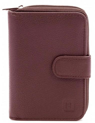 Portefeuille Hexagona en cuir ref_36664 Cognac 13*9