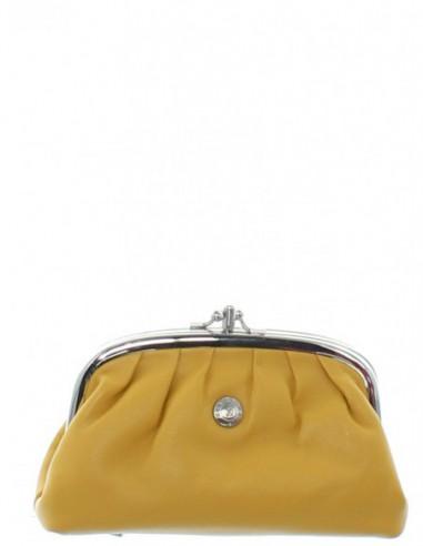 Porte Monnaie en cuir vachette Hexagona ref_32010-jaune